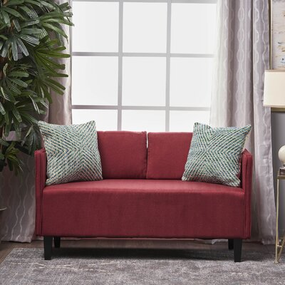 Dempsey Fabric Loveseat Upholstery: Deep Red