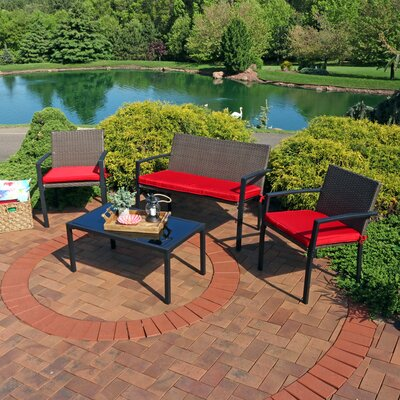 Dimitri Wicker 4 Piece Rattan Seating Group with Cushions