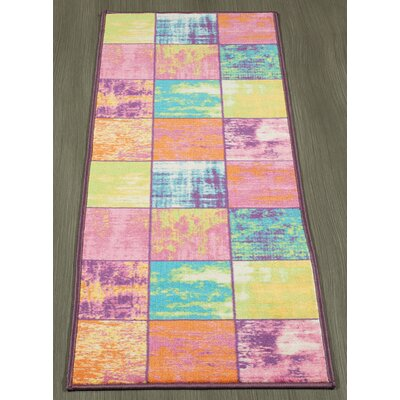 Rocio Boxes Pink/Blue/Yellow Area Rug Rug Size: Runner 18 x 411
