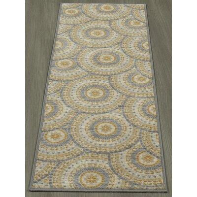 Rocio Mosaic Circle Gray/Beige Area Rug Rug Size: Runner 18 x 411