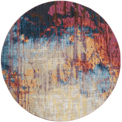 Burch Blue/Rust Area Rug Rug Size: Round 7