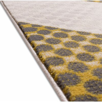 Devanna Modern Abstract Scrolls Yellow/Gray Area Rug Rug Size: 53 x 73