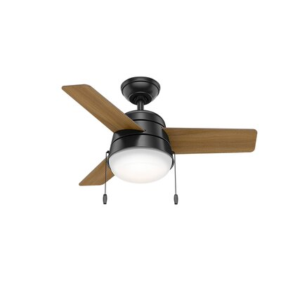 36 Aker 3 Blade Ceiling Fan Finish: Matte Black