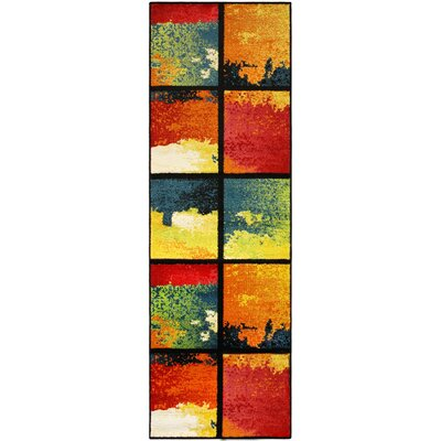 Vaughn Painted Cubes Red/Blue Area Rug Rug Size: Runner 27 x 8