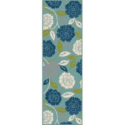 Mathis Aqua Indoor / Outdoor Area Rug Rug Size: Runner 27 x 73