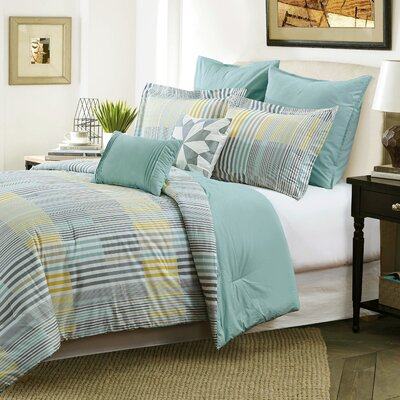 Halie 7 Piece Comforter Set Size: Queen