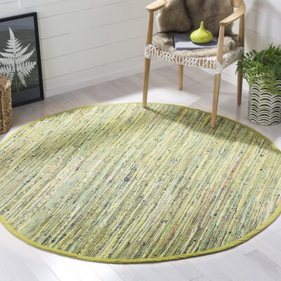 Declan Hand-Woven Light Green Area Rug Rug Size: Round 6
