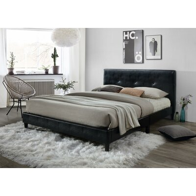 McArthur Upholstered Platform Bed Color: Black, Size: Full