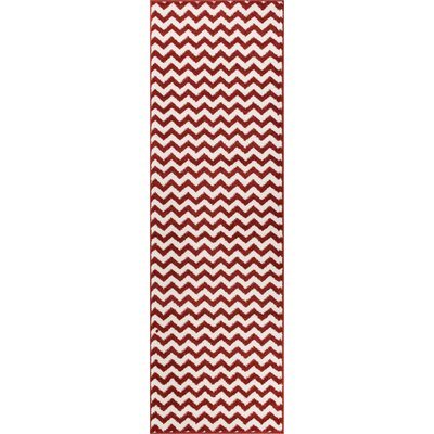 Burgess Chevron Rust/White Area Rug Rug Size: Runner 23 x 73