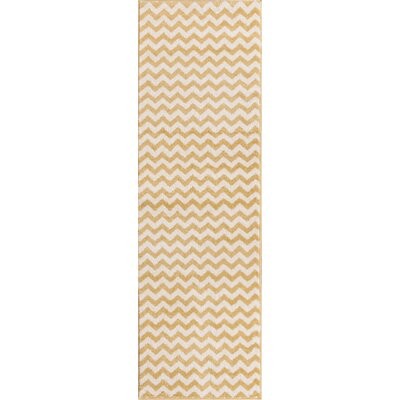 Burgess Chevron Gold/White Area Rug Rug Size: Runner 23 x 73