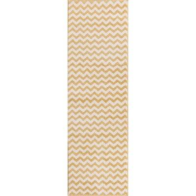 Burgess Chevron Gold/White Area Rug Rug Size: Runner 23 x 73