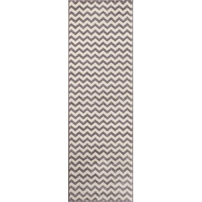 Burgess Chevron Light Gray/White Area Rug Rug Size: Runner 23 x 73