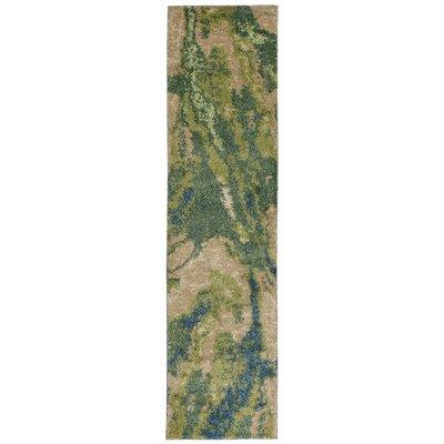 Deray River Green/Beige Indoor/Outdoor Area Rug Rug Size: Runner 111 x 76