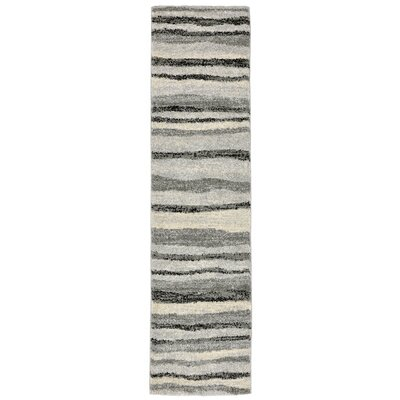 Deray Waves Gray/Beige Indoor/Outdoor Area Rug Rug Size: Runner 111 x 76