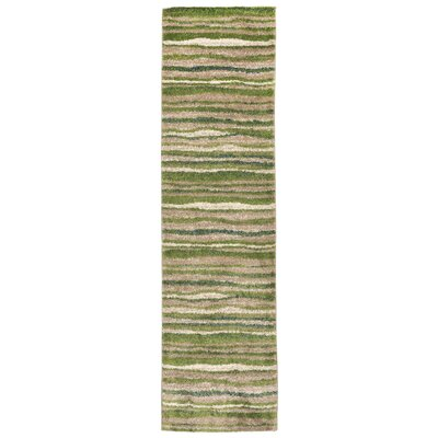 Deray Waves Rug Green/Beige Indoor/Outdoor Area Rug Rug Size: Runner 111 x 76