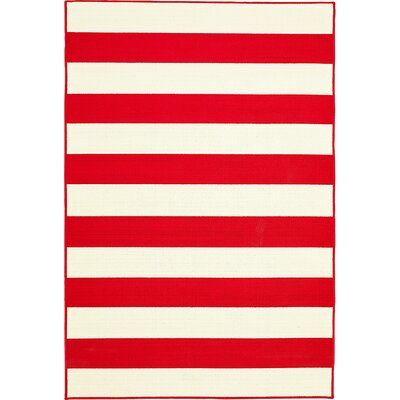Devondra Stripe Summer Red/White Indoor/Outdoor Area Rug Rug Size: 67 x 96