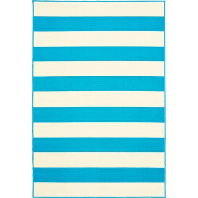 Deverick Stripe Blue/White Indoor/Outdoor Area Rug Rug Size: 5 x 73