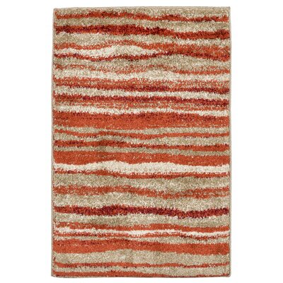Deray Waves Orange/Beige Indoor/Outdoor Area Rug Rug Size: 111 x 211