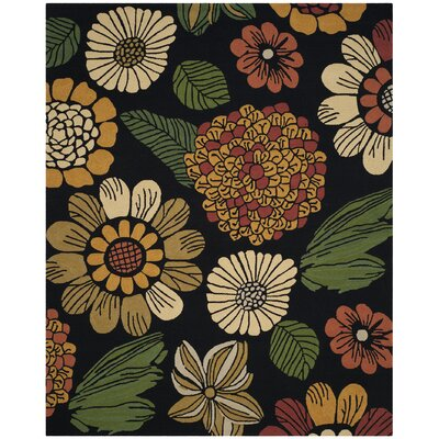Hayes Hand-Hooked Black Indoor/Outdoor Area Rug Rug Size: Rectangle 8 x 10