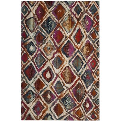 Damon Cream/Rust Area Rug Rug Size: Rectangle 51 x 76