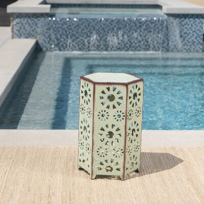 Balentine Outdoor Iron End Table Color: Green