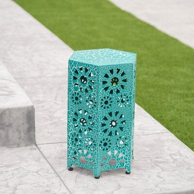 Bales Outdoor Iron End Table Color: Teal