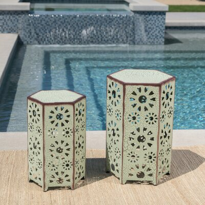 Bales Outdoor Iron 2 Piece End Table Set Color: Green