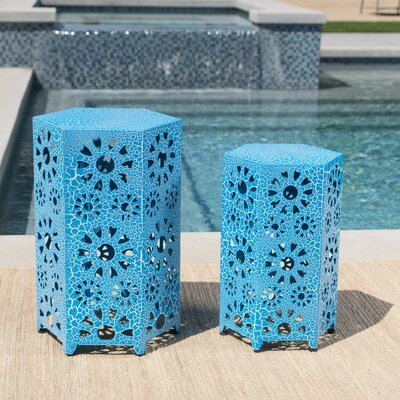 Bales Outdoor Iron 2 Piece End Table Set Color: Blue