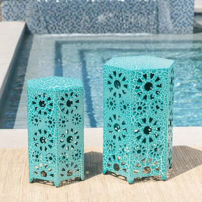 Bales Outdoor Iron 2 Piece End Table Set Color: Teal