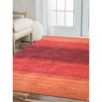 Seamons Hand Knotted Wool Orange/Red Area Rug Rug Size: 9 x 12