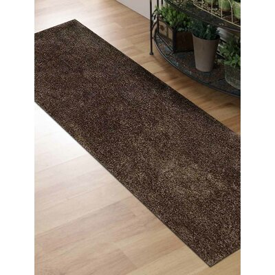 Sanford Solid Hand-Woven Brown Area Rug Rug Size: Runner 26 x 8