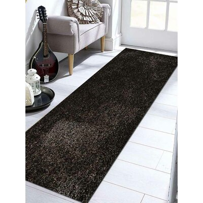 Sanford Solid Hand-Woven Silver/Black Area Rug Rug Size: Runner 26 x 8