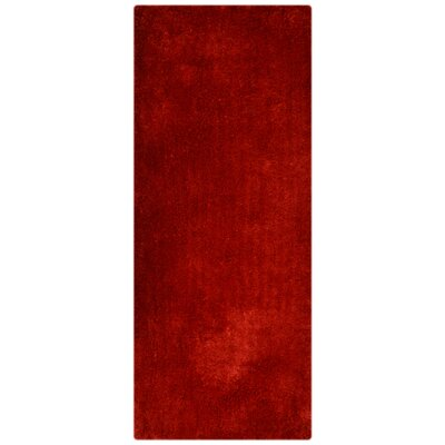 Sanford Solid Hand Tufted Red Area Rug Rug Size: Runner 26 x 10