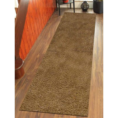 Sanford Solid Hand-Woven Beige Area Rug Rug Size: Runner 26 x 10