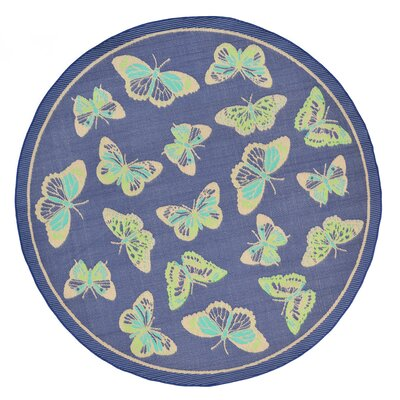 Derosier Blue Indoor/Outdoor Area Rug Rug Size: Round 710