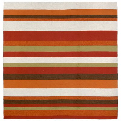 Derby Stripe Orange Area Rug Rug Size: Square 8