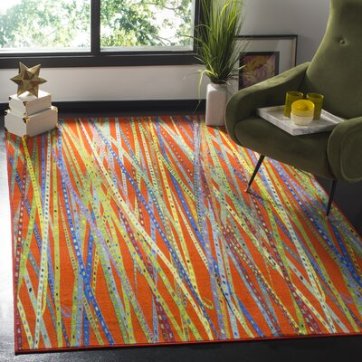Zavala Orange Area Rug Rug Size: Rectangle 3 x 5