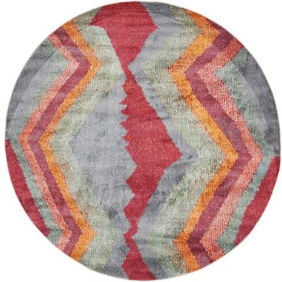 Backus Gray/Red Area Rug Rug Size: Round 8
