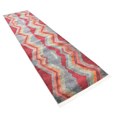 Backus Gray/Red Area Rug Rug Size: Runner 27 x 10