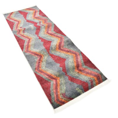 Backus Gray/Red Area Rug Rug Size: Runner 22 x 6