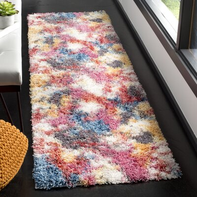 Delma Ivory/Blue Area Rug Rug Size: Runner 23 x 8