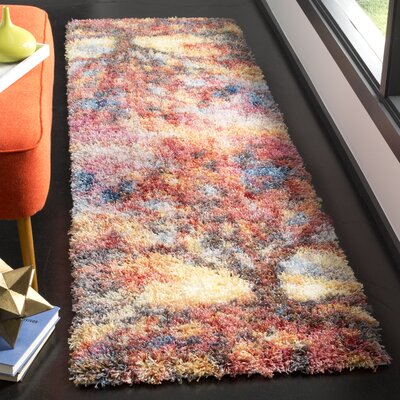 Delma Power Loom Rust/Blue Area Rug Rug Size: Runner 23 x 8