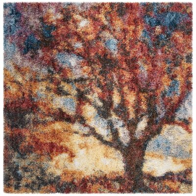 Delma Power Loom Rust/Blue Area Rug Rug Size: Square 67