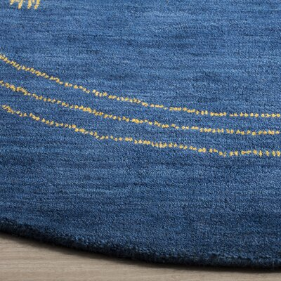 Hossain Hand-Loomed Wool Blue Area Rug Rug Size: Round 6