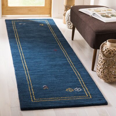 Hossain Hand-Loomed Wool Blue Area Rug Rug Size: Runner 28 x 8