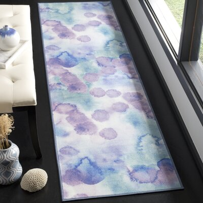 Darius Paint Brush Blue/Lavender Area Rug Rug Size: Runner 23 x 8