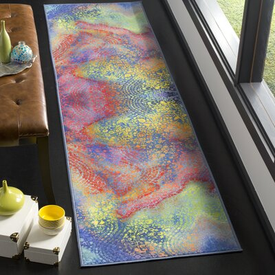 Darcy Paint Brush Blue/Coral Area Rug Rug Size: Runner 23 x 8