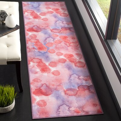 Dashiell Paint Brush Fuchsia/Lavender Area Rug Rug Size: Runner 23 x 8