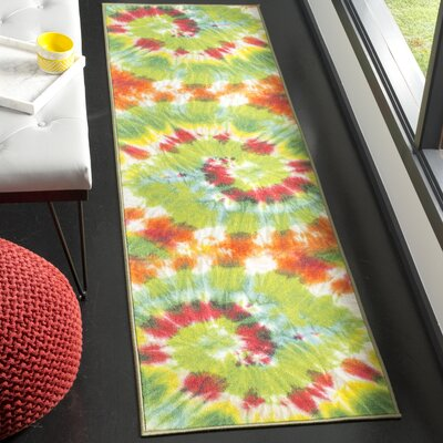 Dawna Paint Brush Green/Orange Area Rug Rug Size: Runner 23 x 8