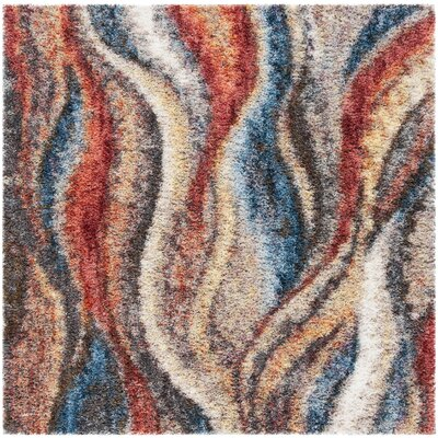 Delma Rust/Blue Area Rug Rug Size: Square 67